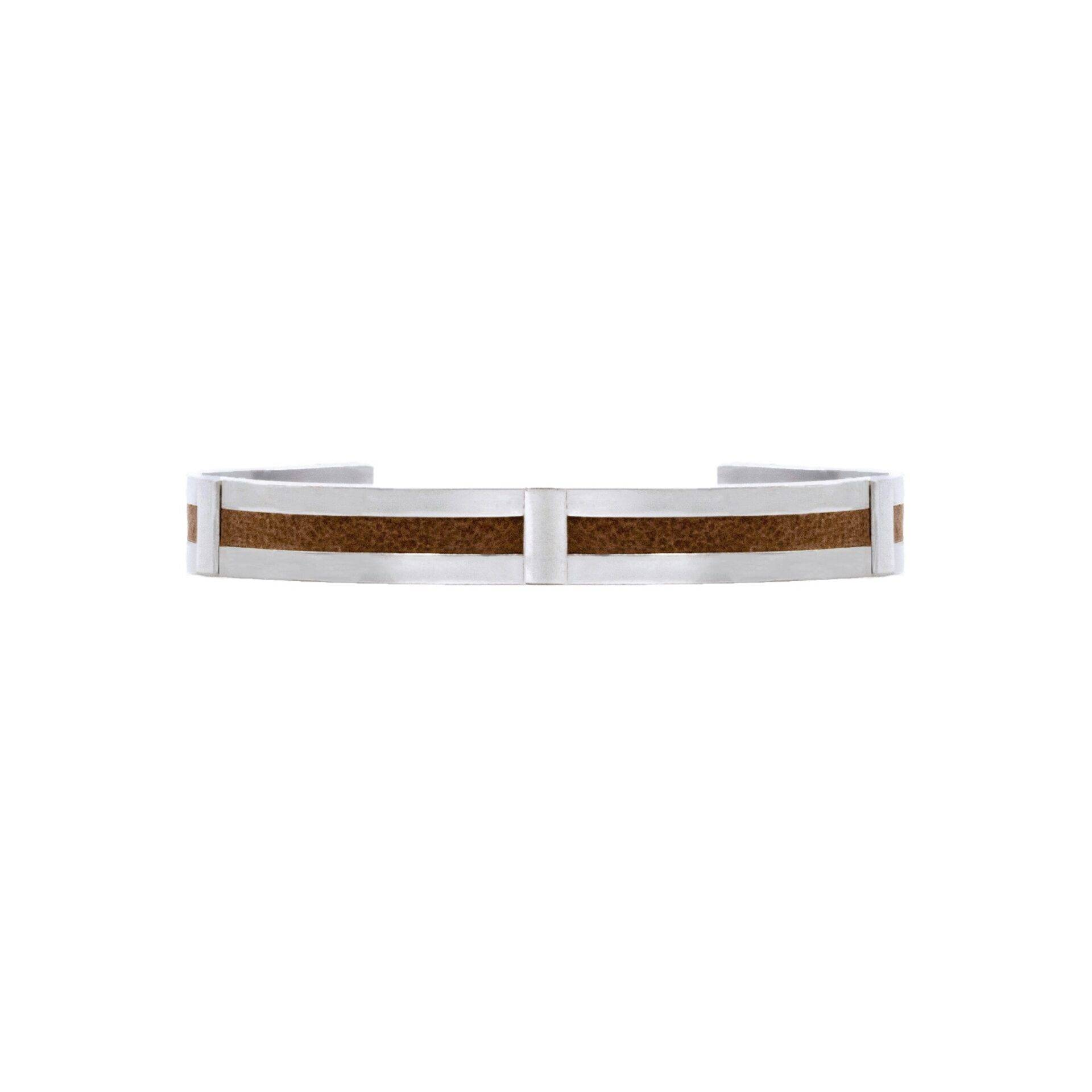 Taqat Jewellery men's brown leather and silver cuff