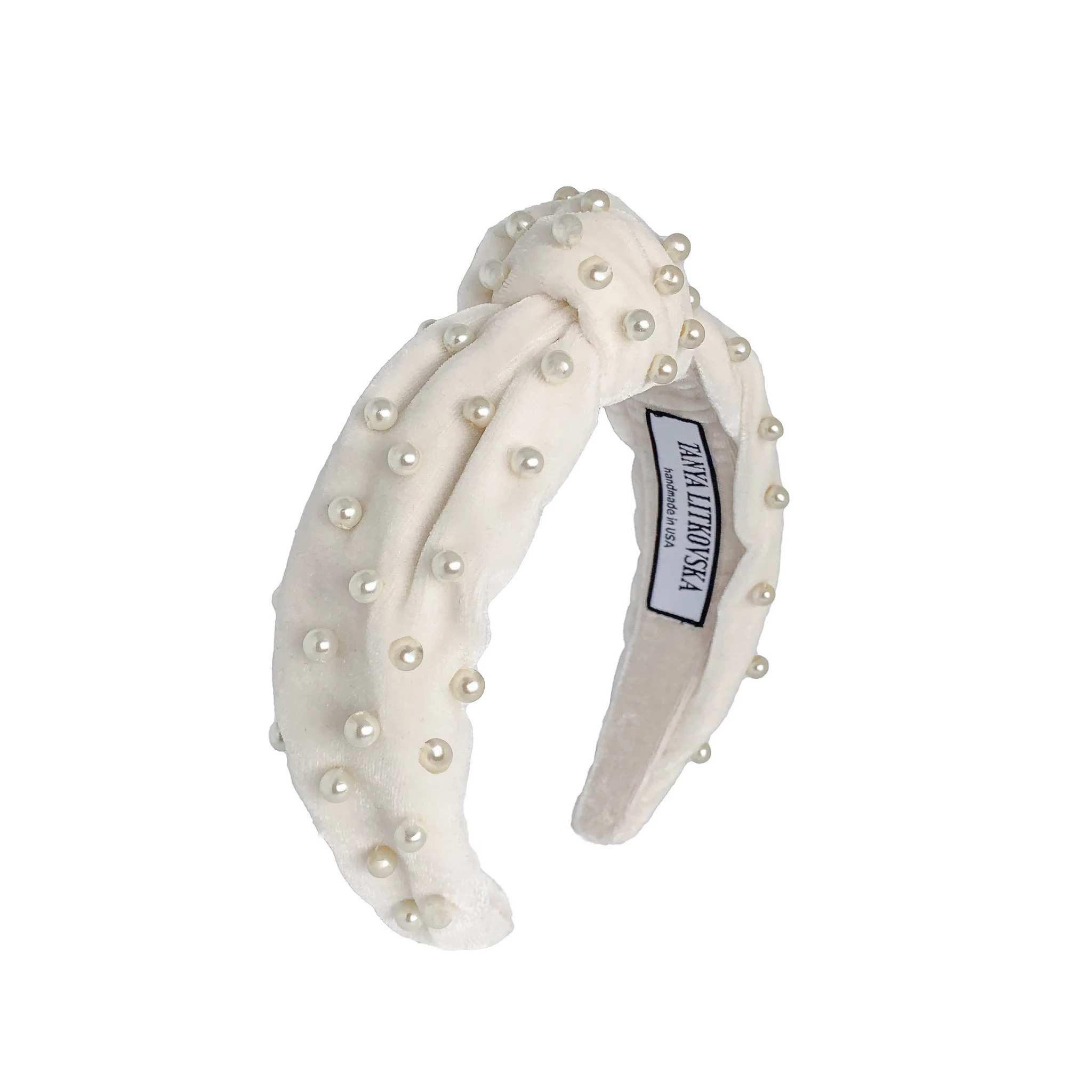 Tanya litkovska Women's Pearled Off White Velvet Knotted Headband