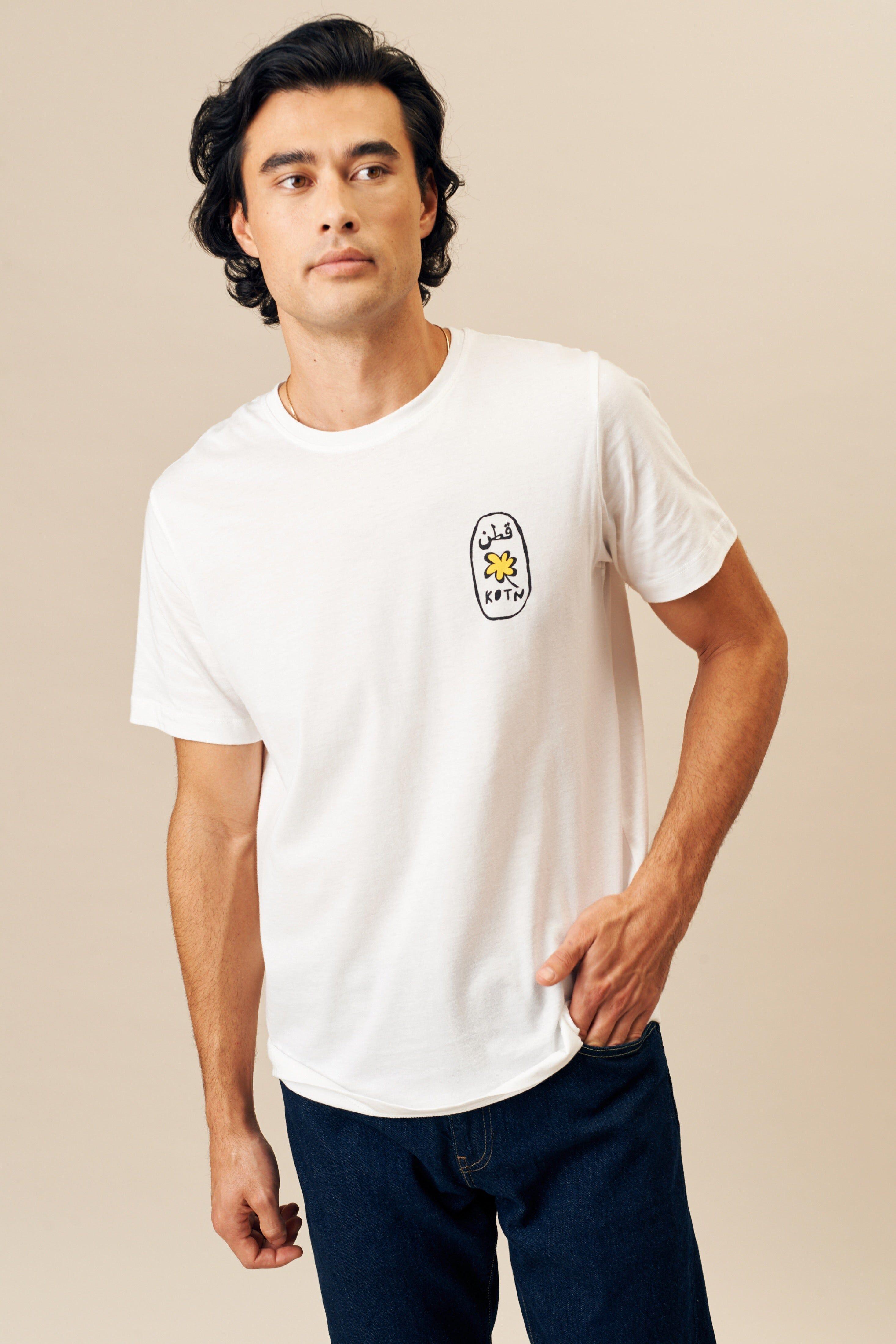 Kotn Unisex Cartouche Crew T-Shirt in White, Size Large, 100% Egyptian Cotton