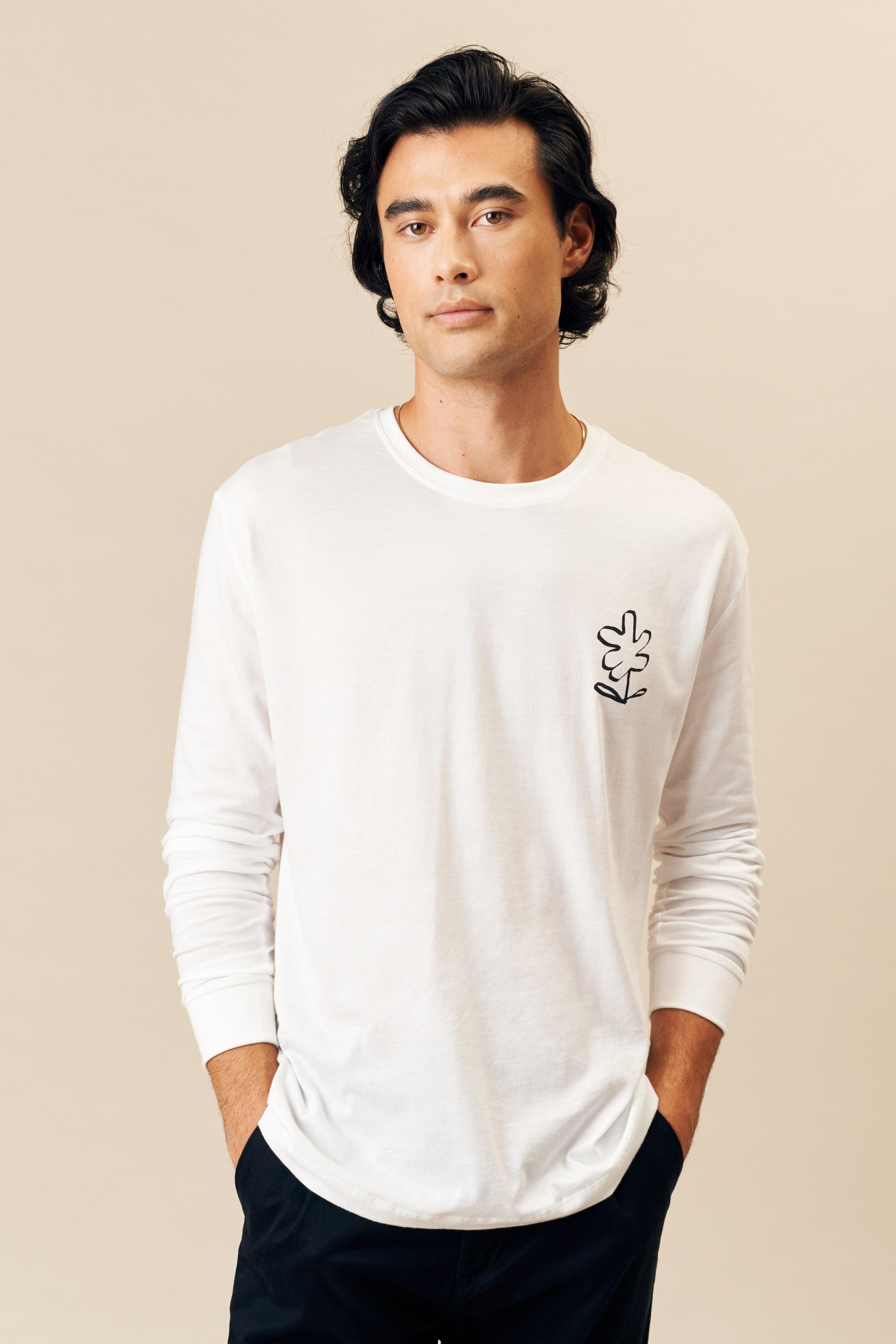 Kotn Unisex Helping Hands Longsleeve Shirt in White, Size Medium, 100% Egyptian Cotton