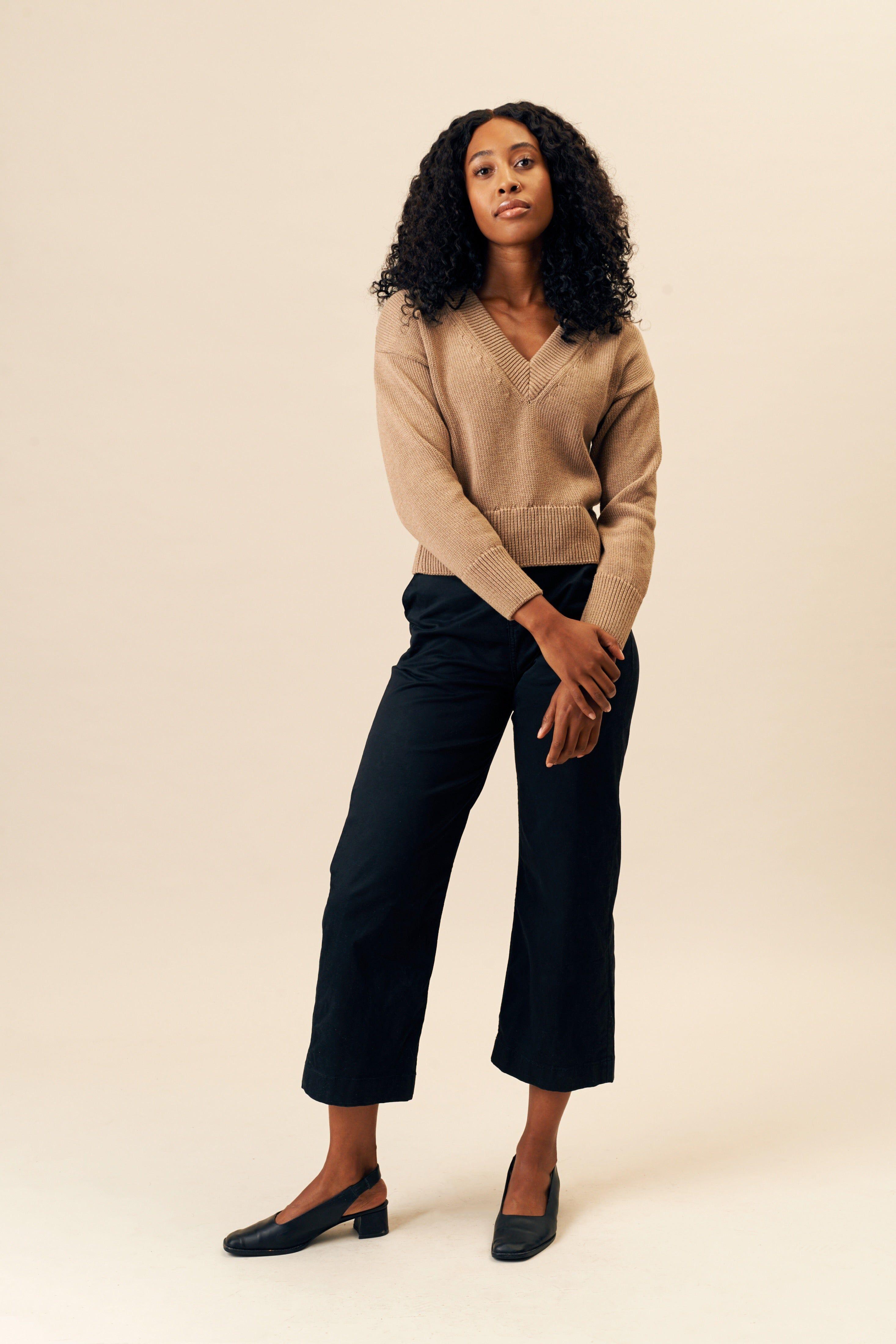 Kotn Women's Deep V-Neck Sweater in Caramel Brown, Size XL