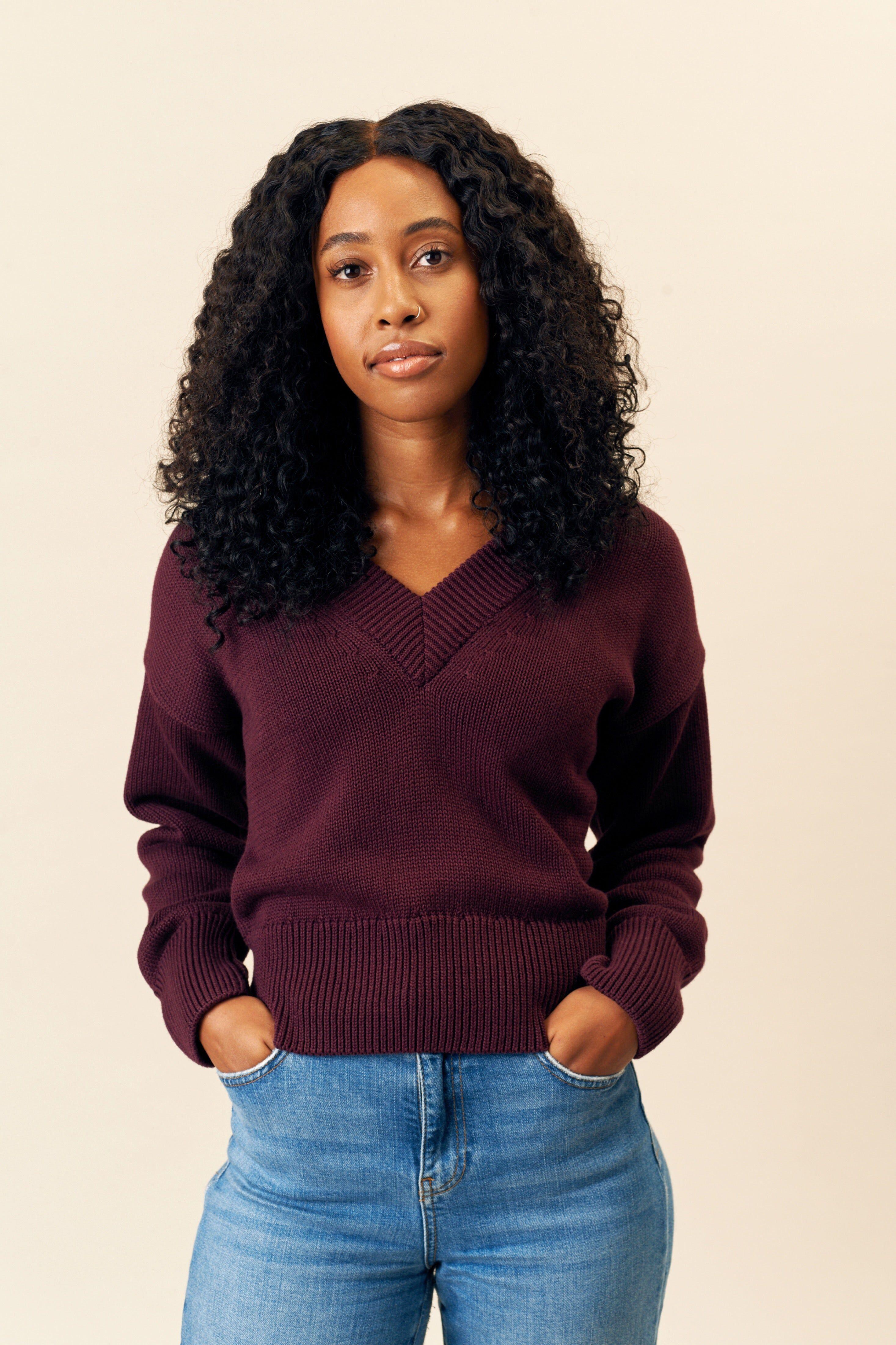 Kotn Women's Deep V-Neck Sweater in Eggplant Purple, Size XS