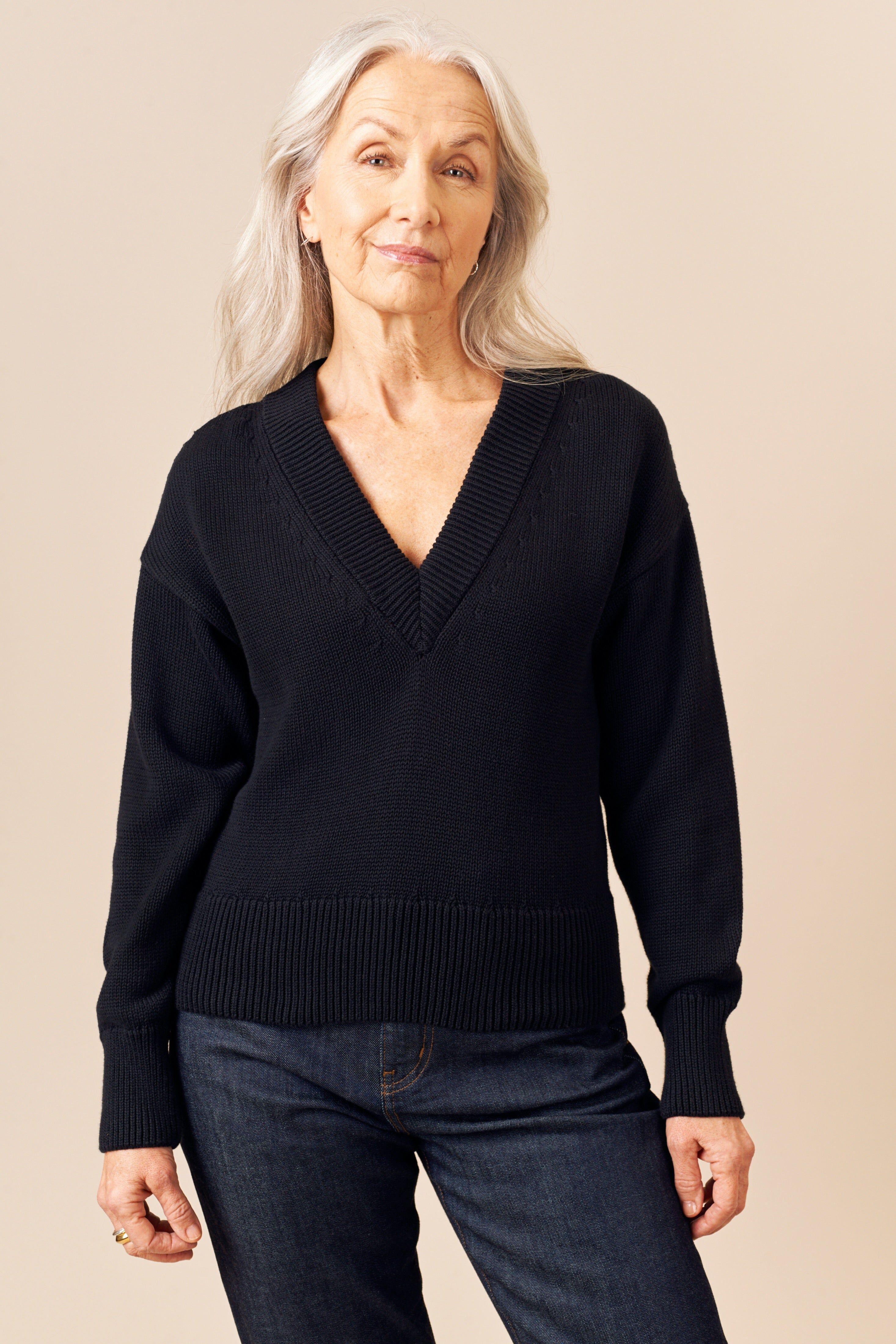 Kotn Women's Deep V-Neck Sweater in Black, Size Medium