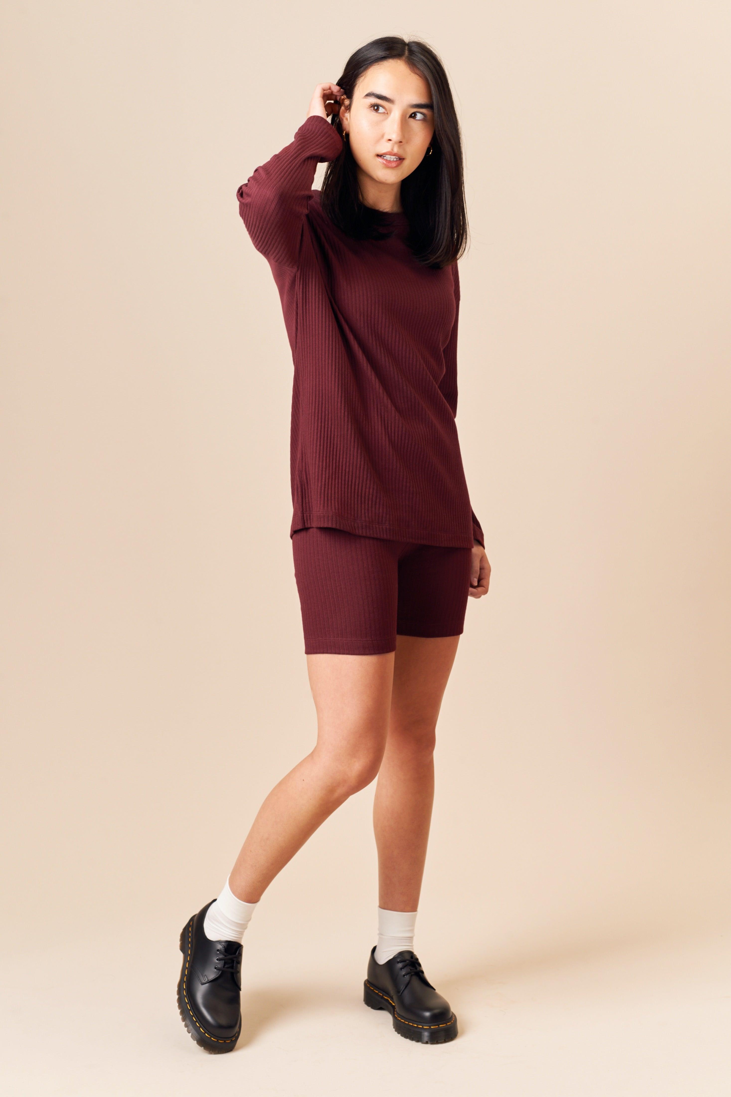 Kotn Women's Ribbed Shorts in Zinfandel, Size XL