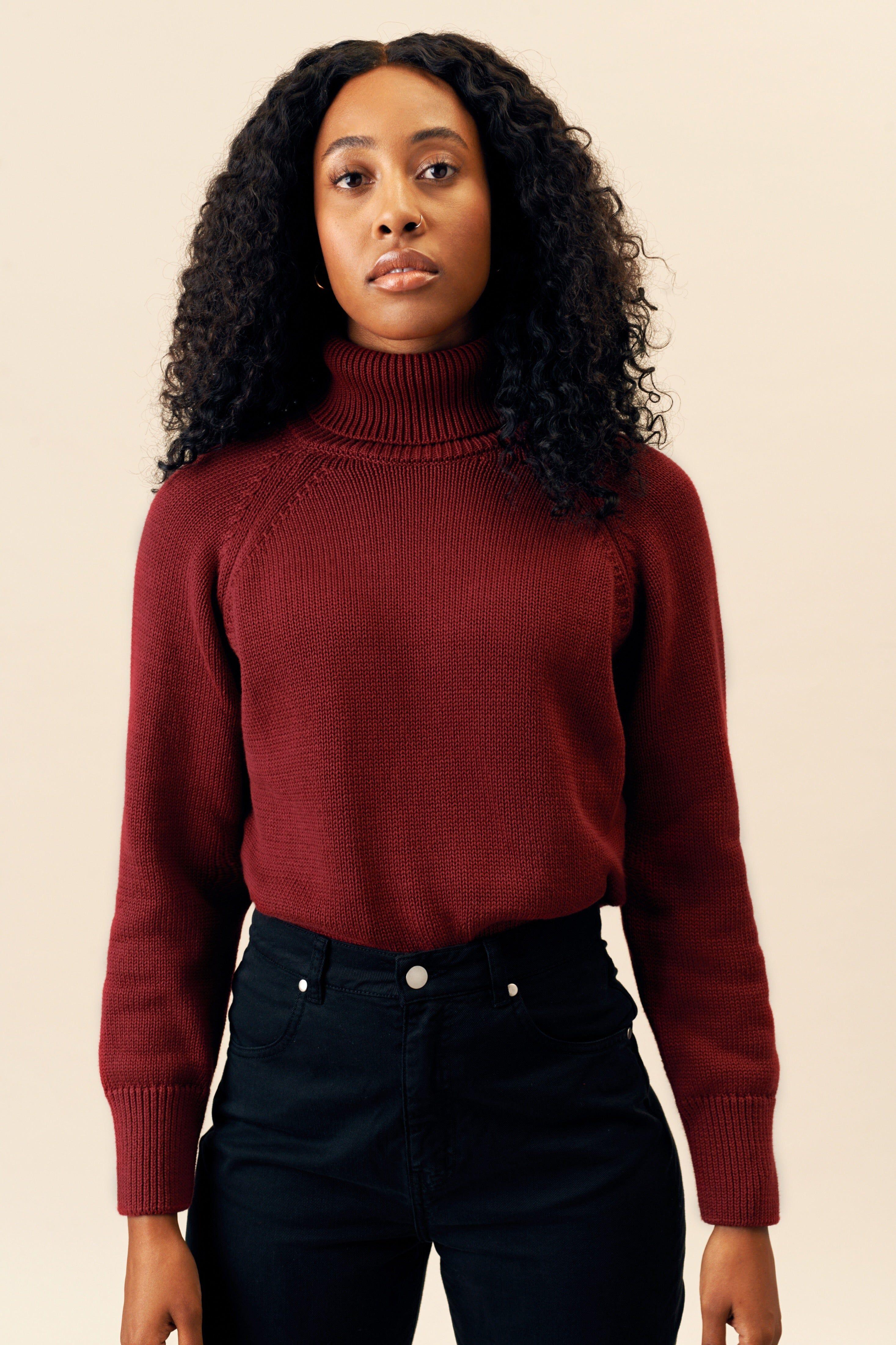 Kotn Women's Turtleneck Top Sweater in Merlot Red, Size Small