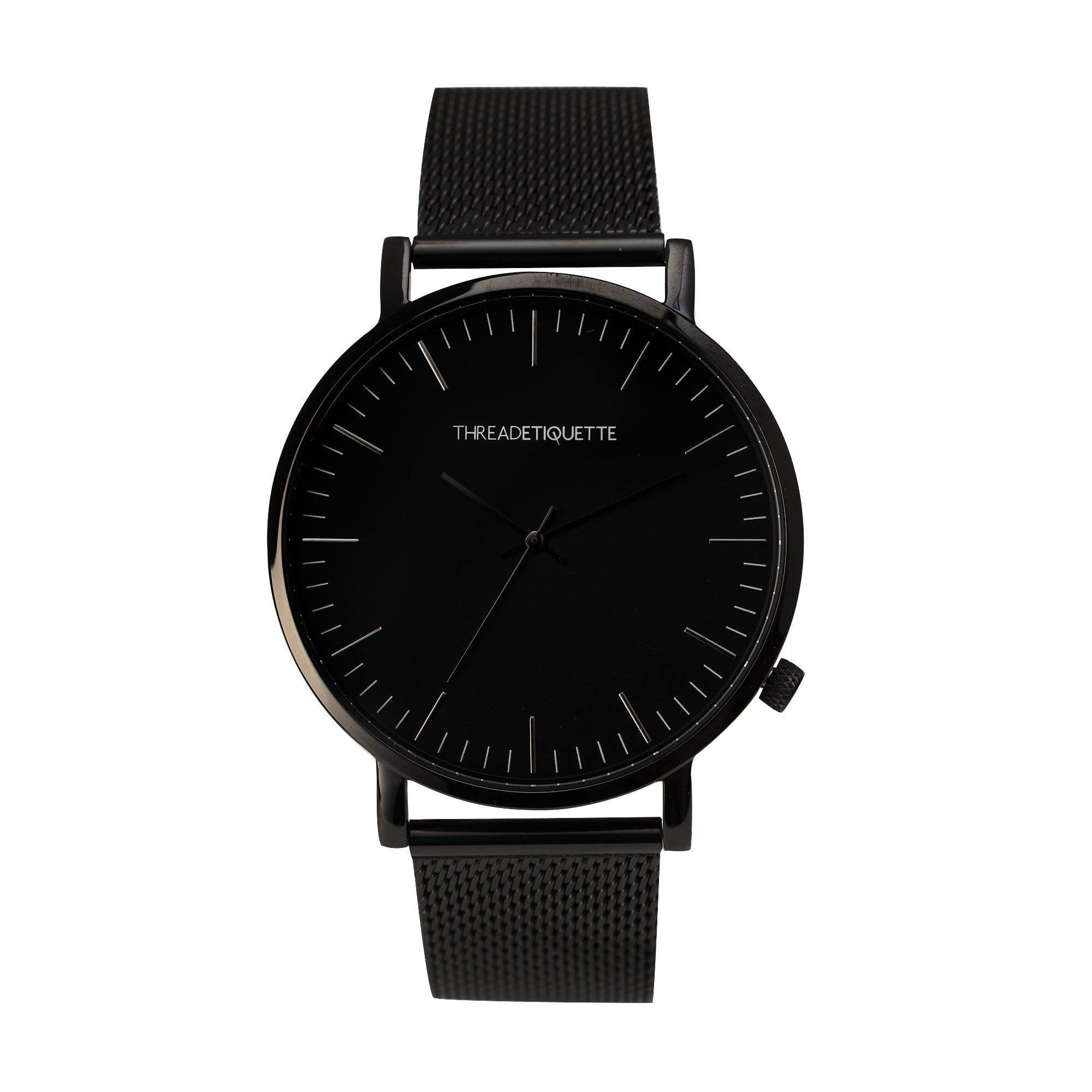 Thread Etiquette Classic - Black Mesh Timepiece