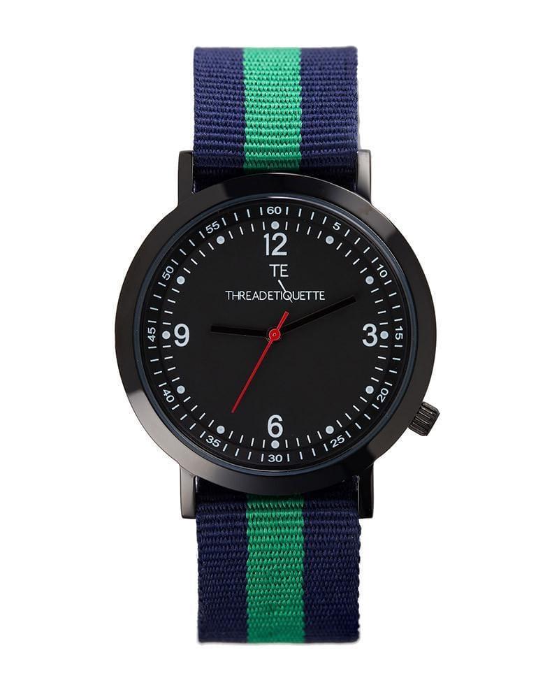 Thread Etiquette Sport  Black / Navy & Teal Nato Timepiece