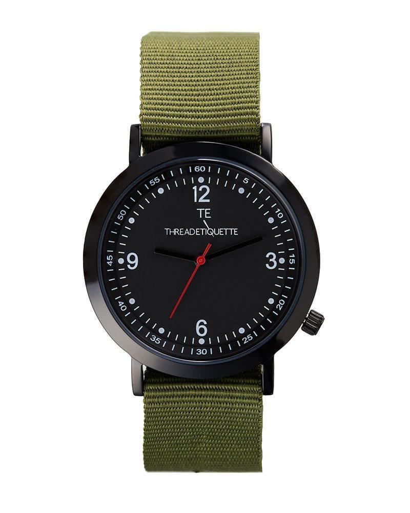 Thread Etiquette Sport  Black / Olive Nato Timepiece