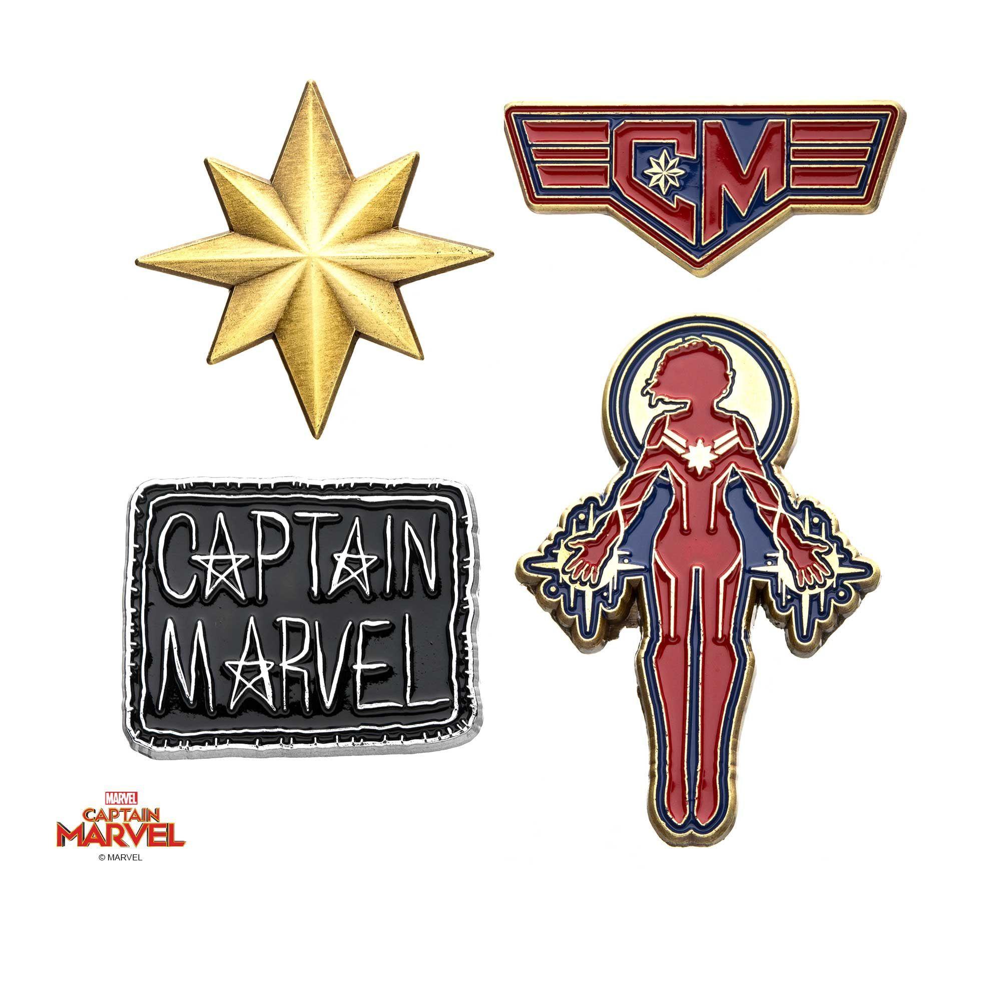 The Marvel Captain Marvel Enamel Enamel Pin Set