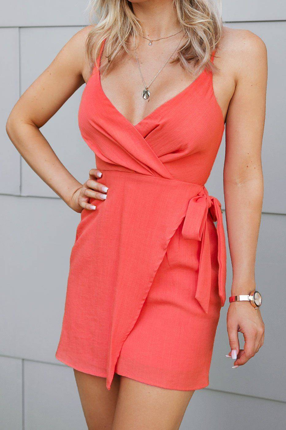 Candy That's A Wrap Coral Mini Dress  - G1314 Coral Small