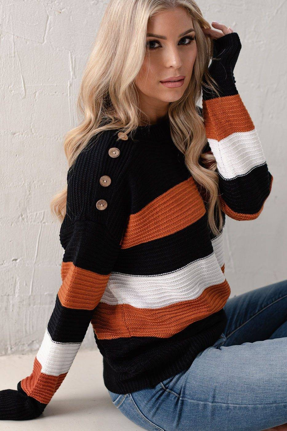 Lily Clothing Never Change Rust Striped Knit Sweater  - G1449 Black Small