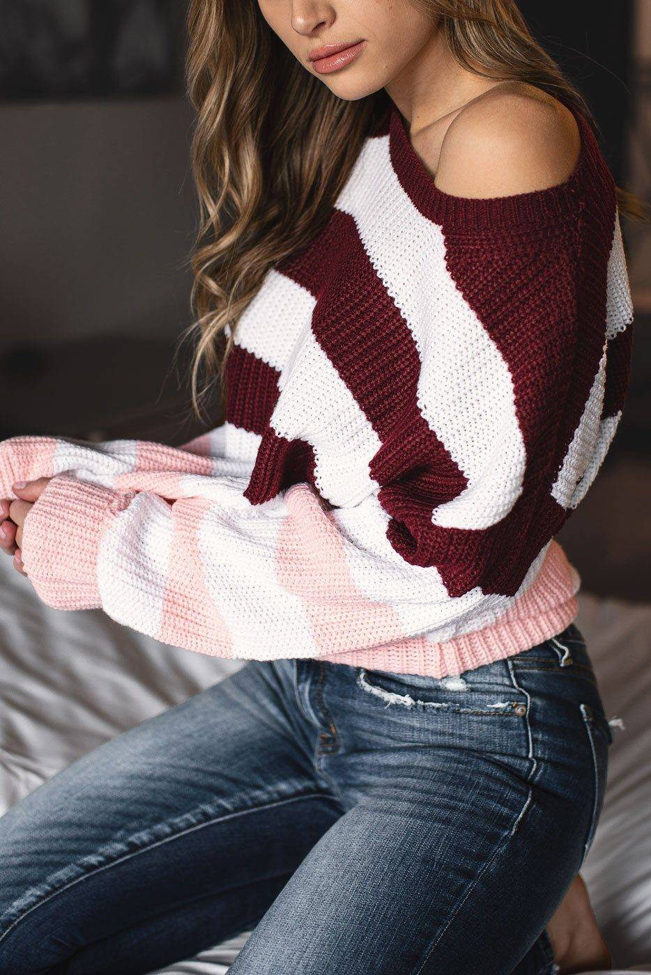 Lily Clothing Lola Burgundy and Pink Striped Sweater  - G1493 Pink Small