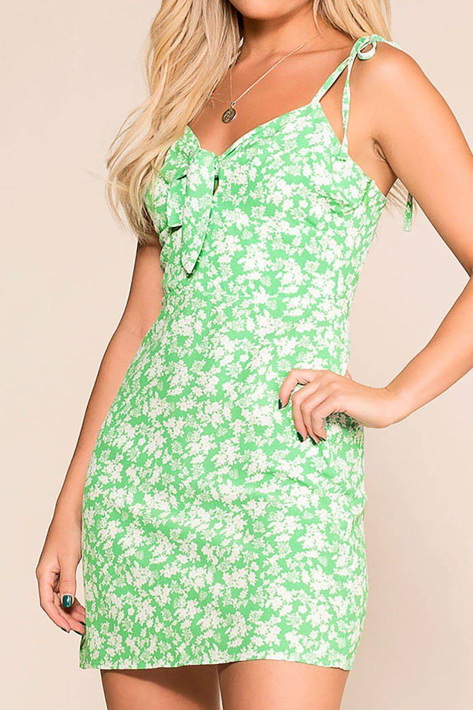Candy In The Garden Green Floral Sun Dress  - G1195 Jade Small