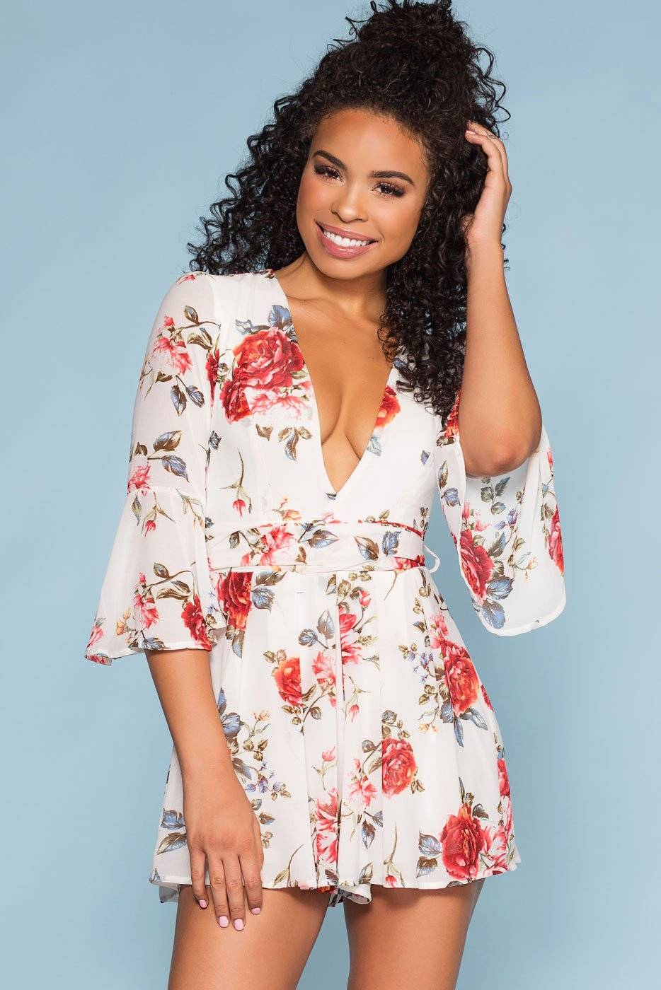 Miss Avenue Lost Garden Floral Bell Sleeve Romper - Ivory  - F1466 Ivory Large