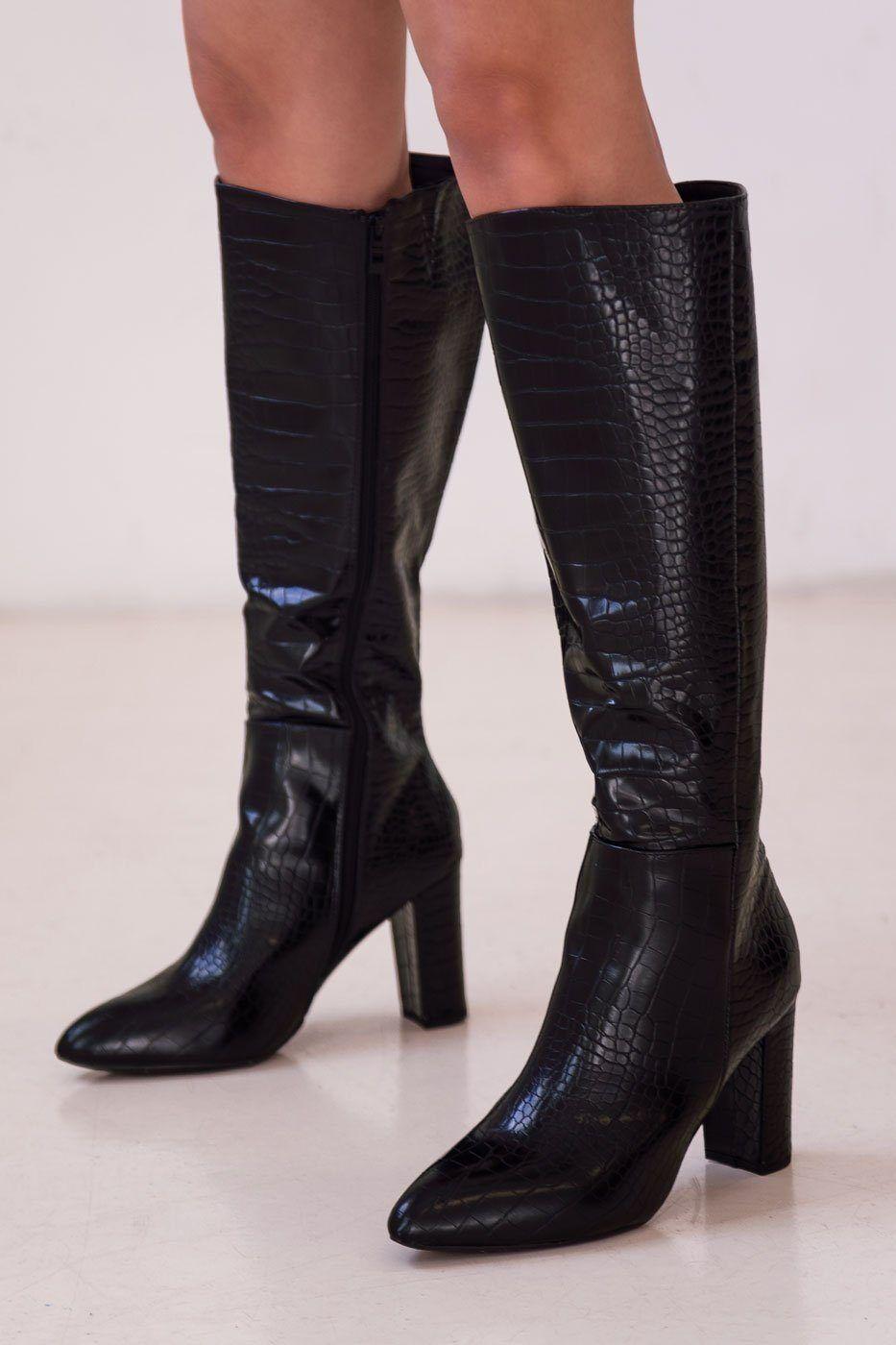 TOP MODA Talk Me Up Black Vegan Croc Boots  - J1006 BLACK 10