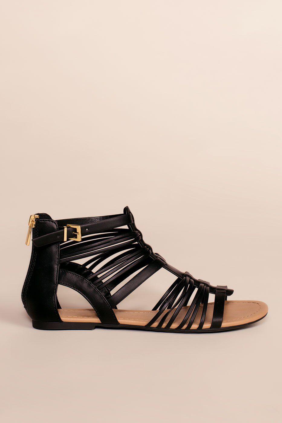 Fortune Dynamic Riko Gladiator Sandals - Black  - F1242 Black 5.5