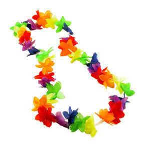 20_Pack_Rainbow_Hawaiian_Flower_Lei 20 Bulk Pack - Rainbow Flower Hawaiian Leis - LGBT Gay and Lesbian Pride Party and Parade Accessory