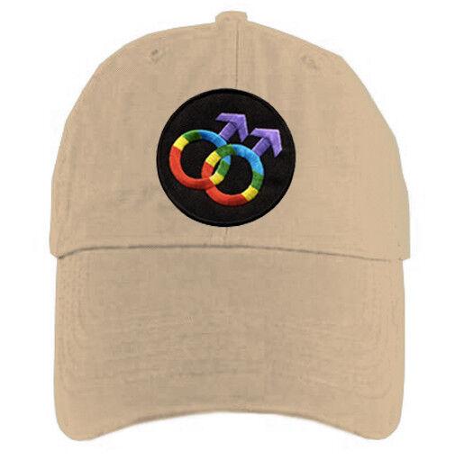 Tan_Cap_Gay_Male_Rainbow_Burst Tan Baseball Cap with Rainbow Double Mars Gay Male Symbols - LGBT Gay Men's Pride Hat. Gay Pride Clothing & Apparel