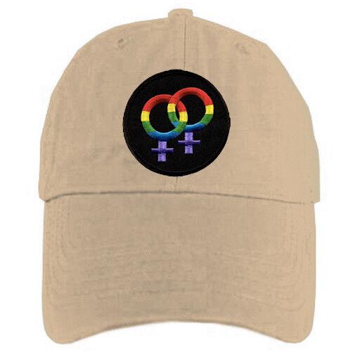 Tan_Cap_Lesbian_Female_Rainbow_Burst Tan Baseball Cap with Rainbow Double Venus Lesbian Female Symbols - LGBT Lesbian Pride Hat. Lesbian Pride Clothing & Apparel