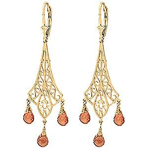 QP Jewellers Citrine Trilogy Drop Earrings 4.2 ctw in 9ct Gold