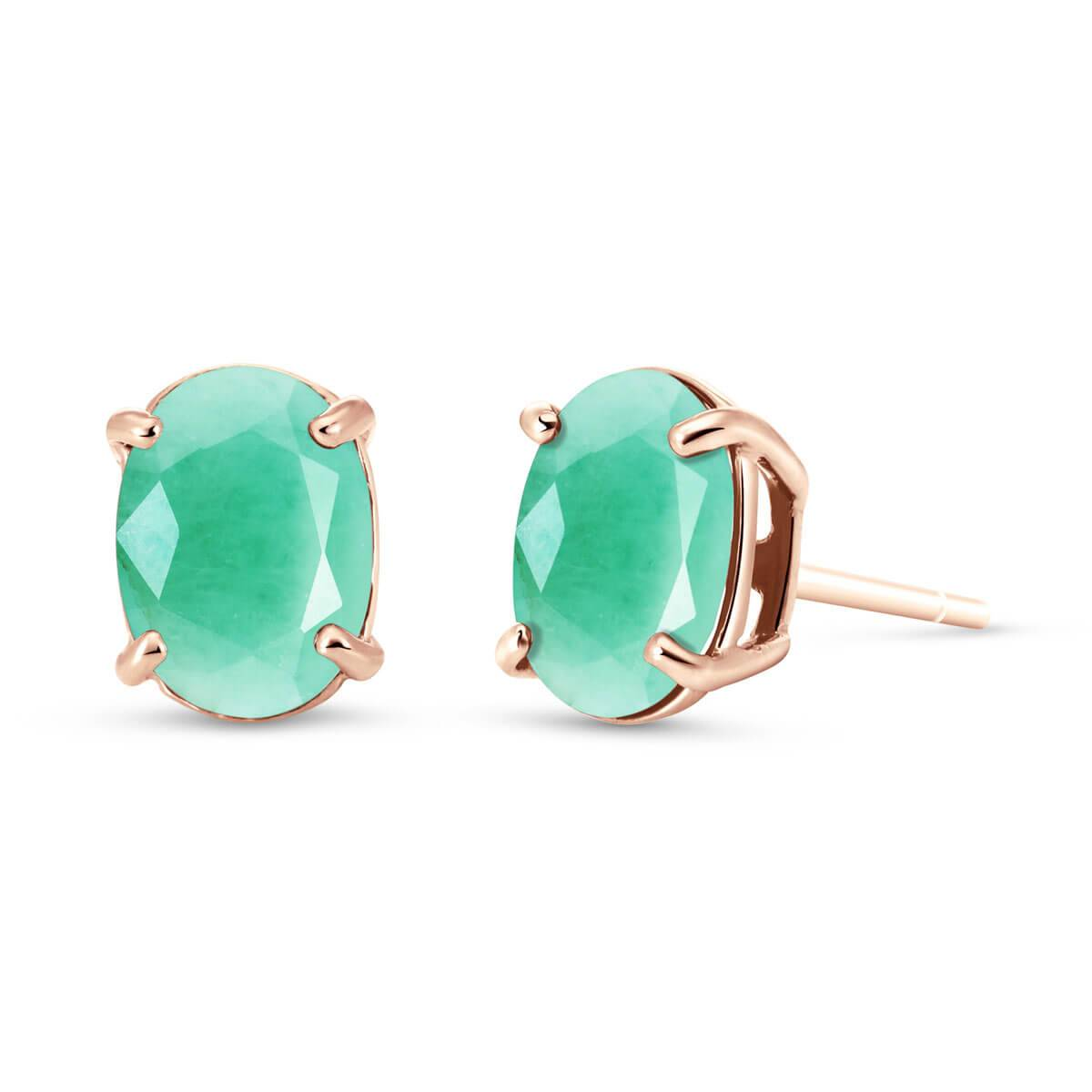 QP Jewellers Emerald Stud Earrings 1.5 ctw in 9ct Rose Gold