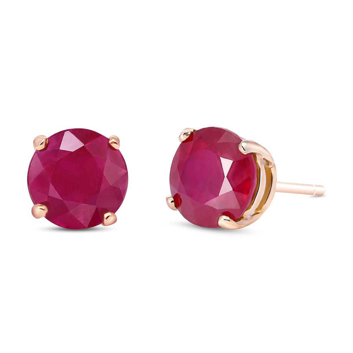 QP Jewellers Ruby Stud Earrings 4.5 ctw in 9ct Rose Gold