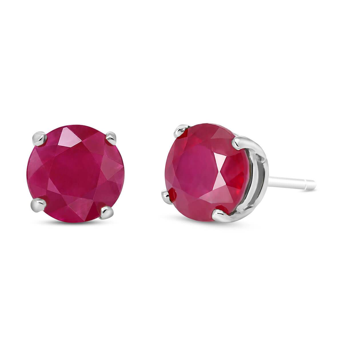 QP Jewellers Ruby Stud Earrings 4.5 ctw in 9ct White Gold