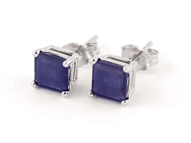 QP Jewellers Sapphire Stud Earrings 2.9 ctw in 9ct White Gold