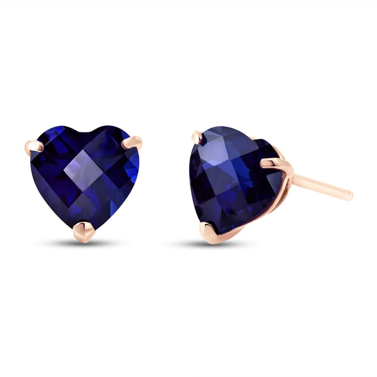 QP Jewellers Sapphire Stud Earrings 3.1 ctw in 9ct Rose Gold