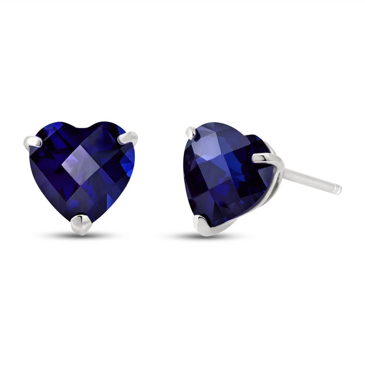 QP Jewellers Sapphire Stud Earrings 3.1 ctw in 9ct White Gold