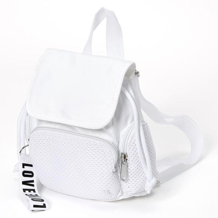 Claire's Nylon & Mesh Mini Backpack - White