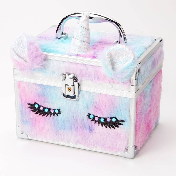 Claire's Furry Pastel Unicorn Lock Box