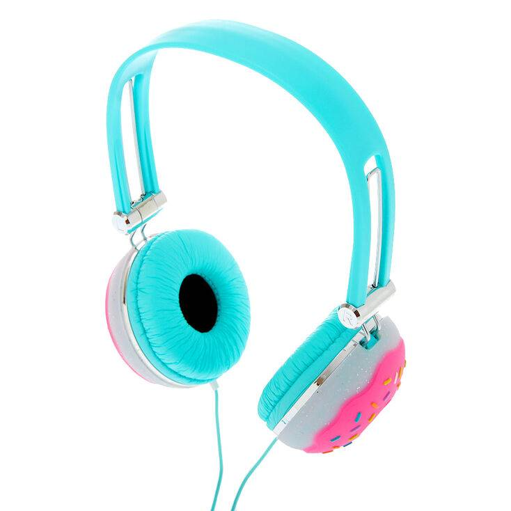 Claire's Glitter Donut Headphones - Turquoise