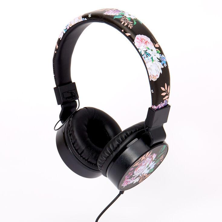 Claire's Floral Headphones - Black