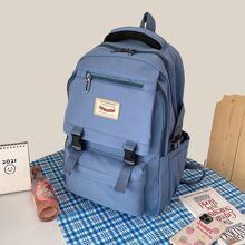 ROMWE Buckle Decor Backpack; Blue, female,