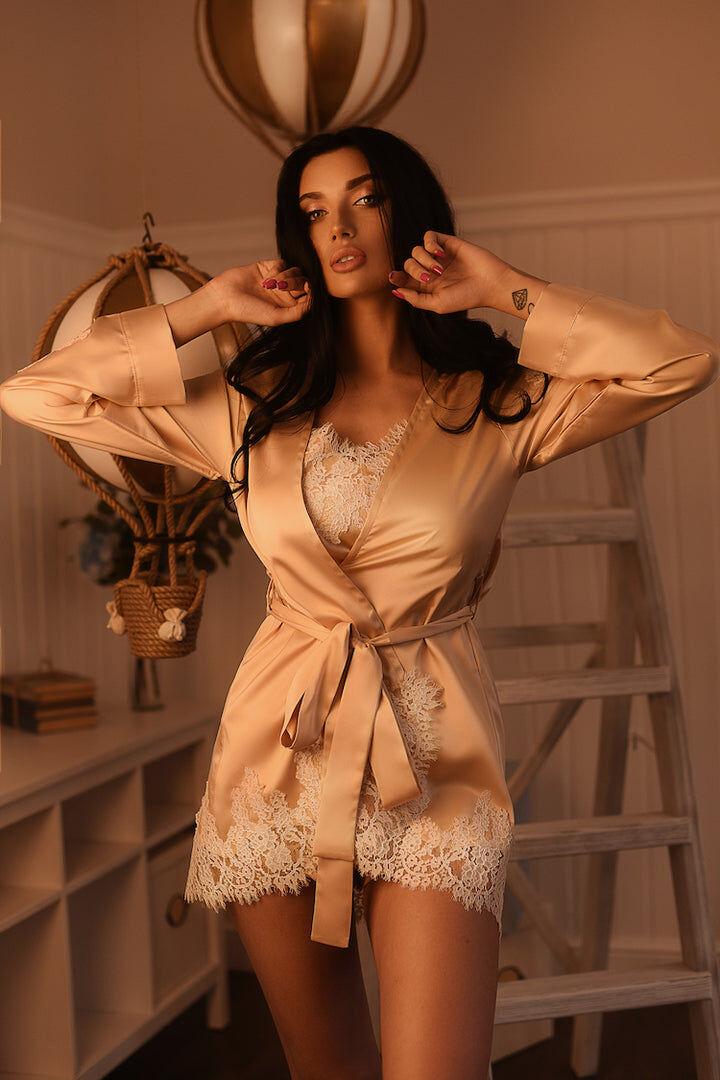 Lingerie Loft Lavlia Gold Silk Short Robe - Small