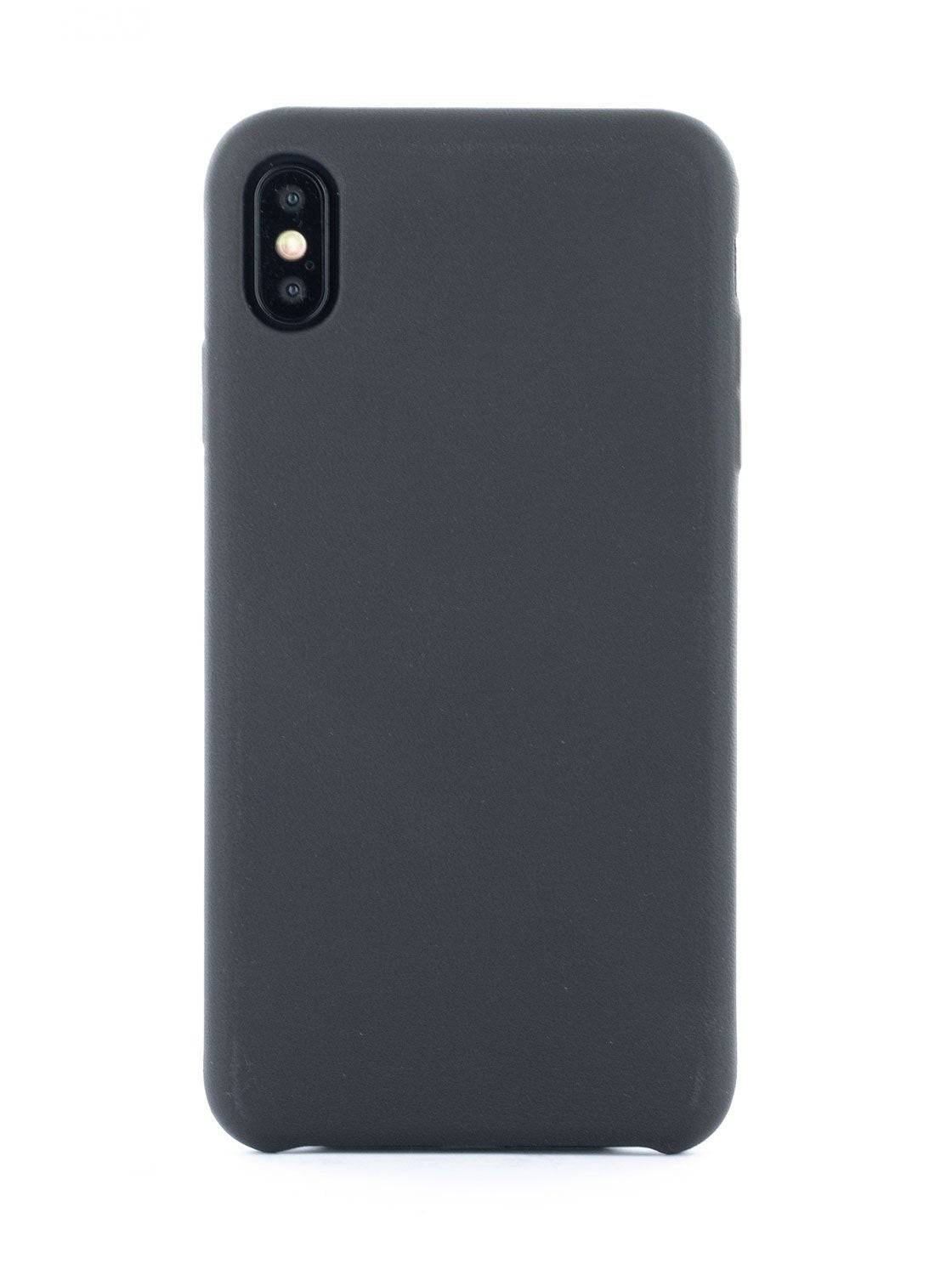 Greenwich AEON Luxury Leather Wrapped Back Shell for iPhone XS Max - Beluga (Black)