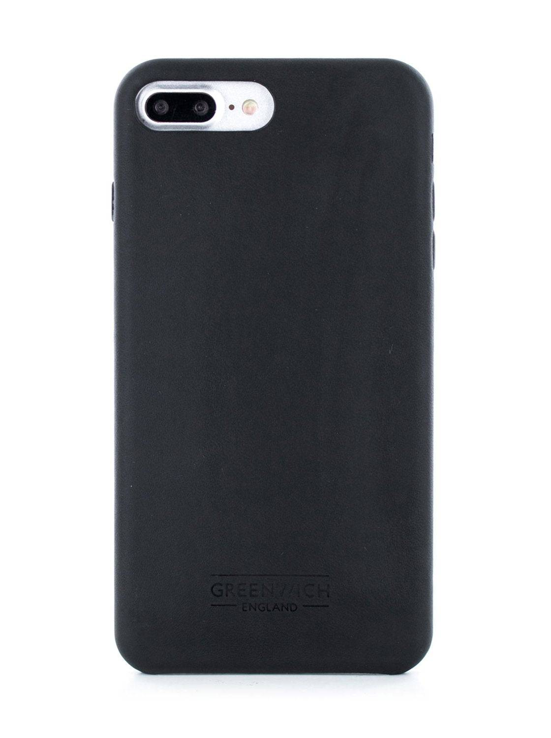 Greenwich AEON Luxury Leather Back Shell for iPhone 8 Plus / 7 Plus In Beluga (Black)