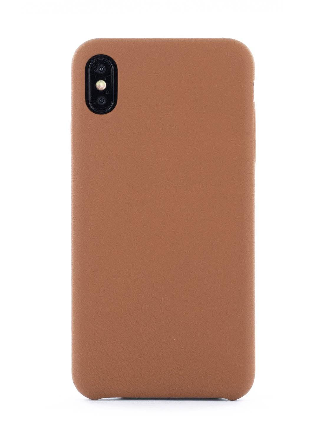 Greenwich AEON Luxury Leather Wrapped Back Shell for iPhone XS Max - Saddle (Brown)