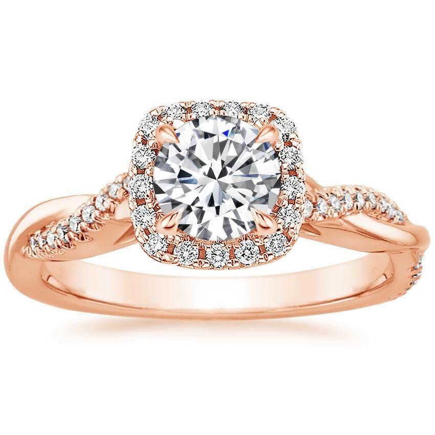 14K Rose Gold Petite Twisted Vine Halo Diamond Ring (1/4 ct. tw.)
