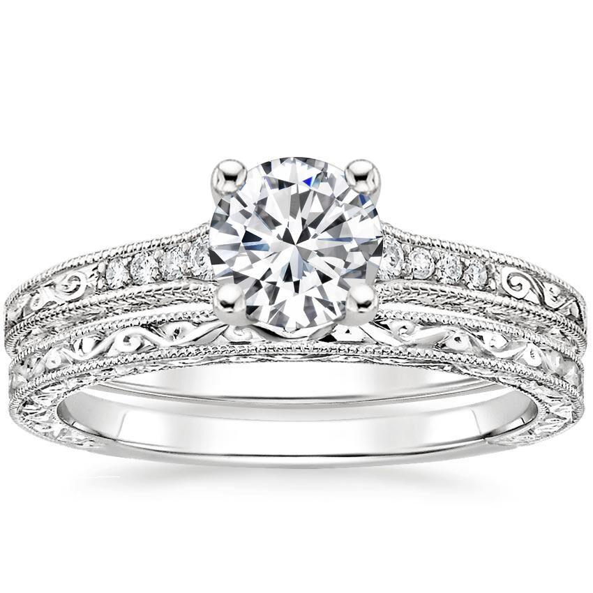 18K White Gold Luxe Hudson Diamond Bridal Set