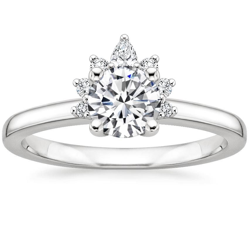 18K White Gold Crescent Diamond Ring