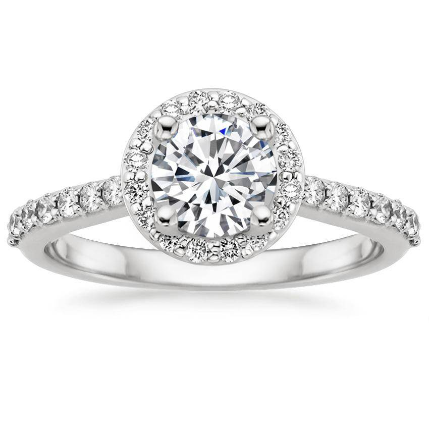 18K White Gold Halo Diamond Ring with Side Stones (1/3 ct. tw.)