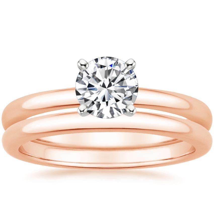 14K Rose Gold 2mm Comfort Fit Bridal Set