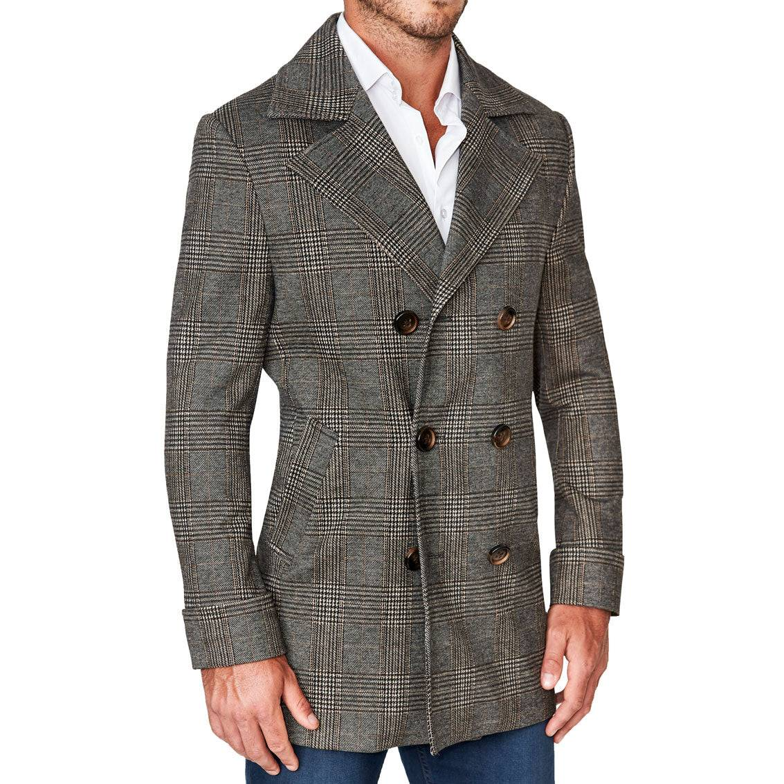 StateLiberty Brown Plaid Double-Breasted Coat