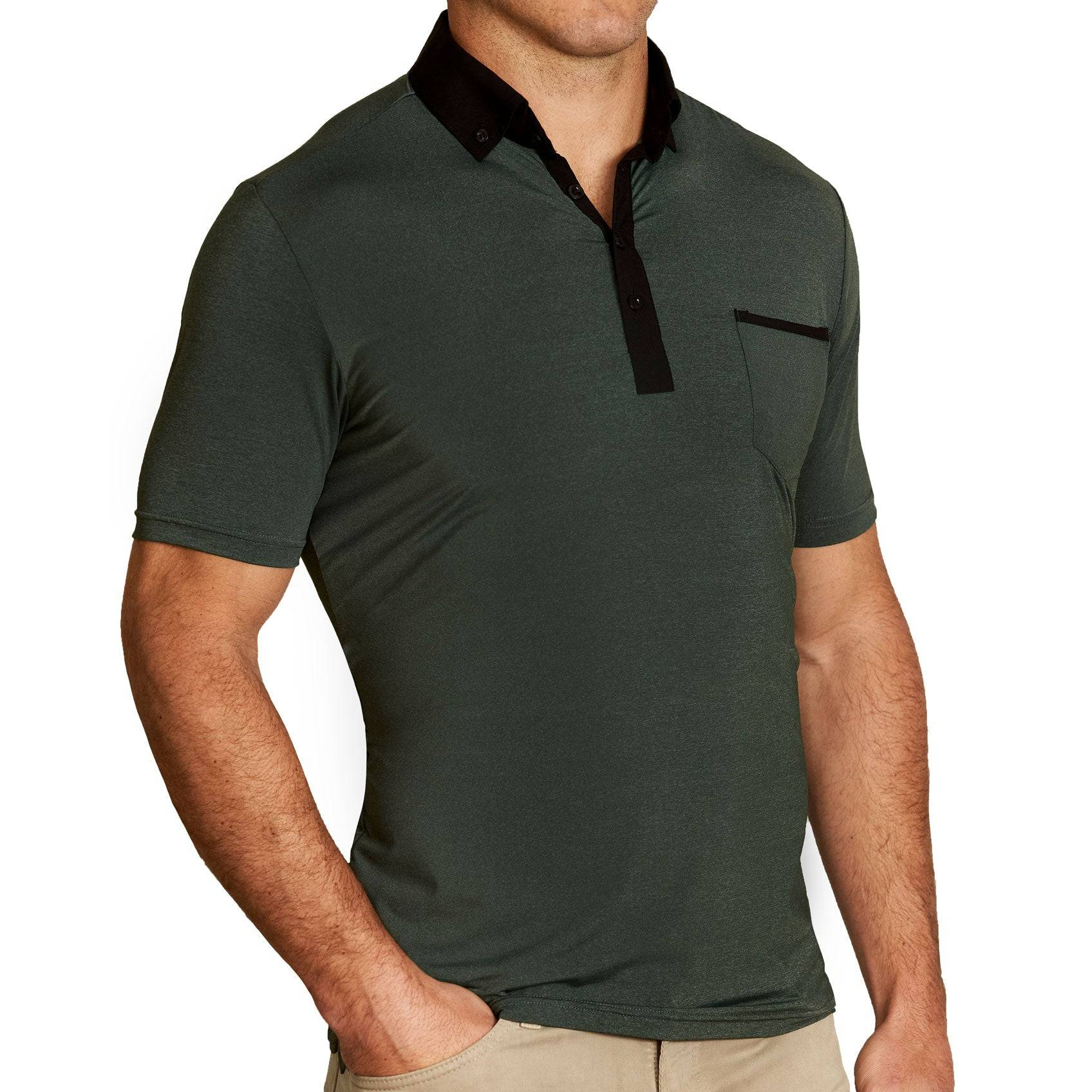 """StateLiberty """"The Pershing"""" Heathered Army Green Tech Polo"""