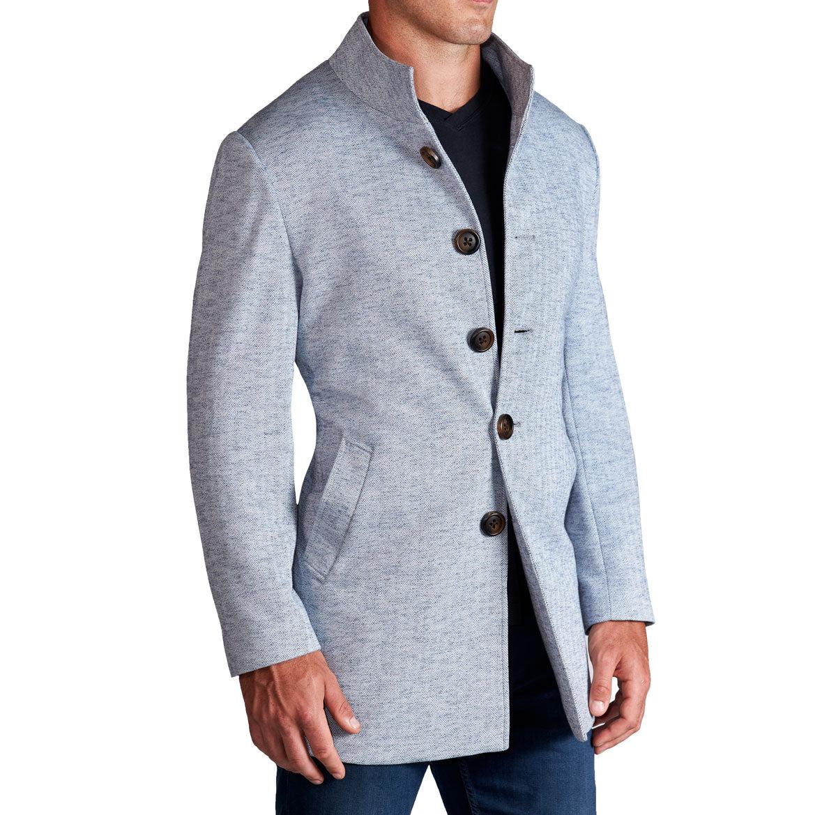 StateLiberty Light Blue Herringbone Mid-Weight Overcoat