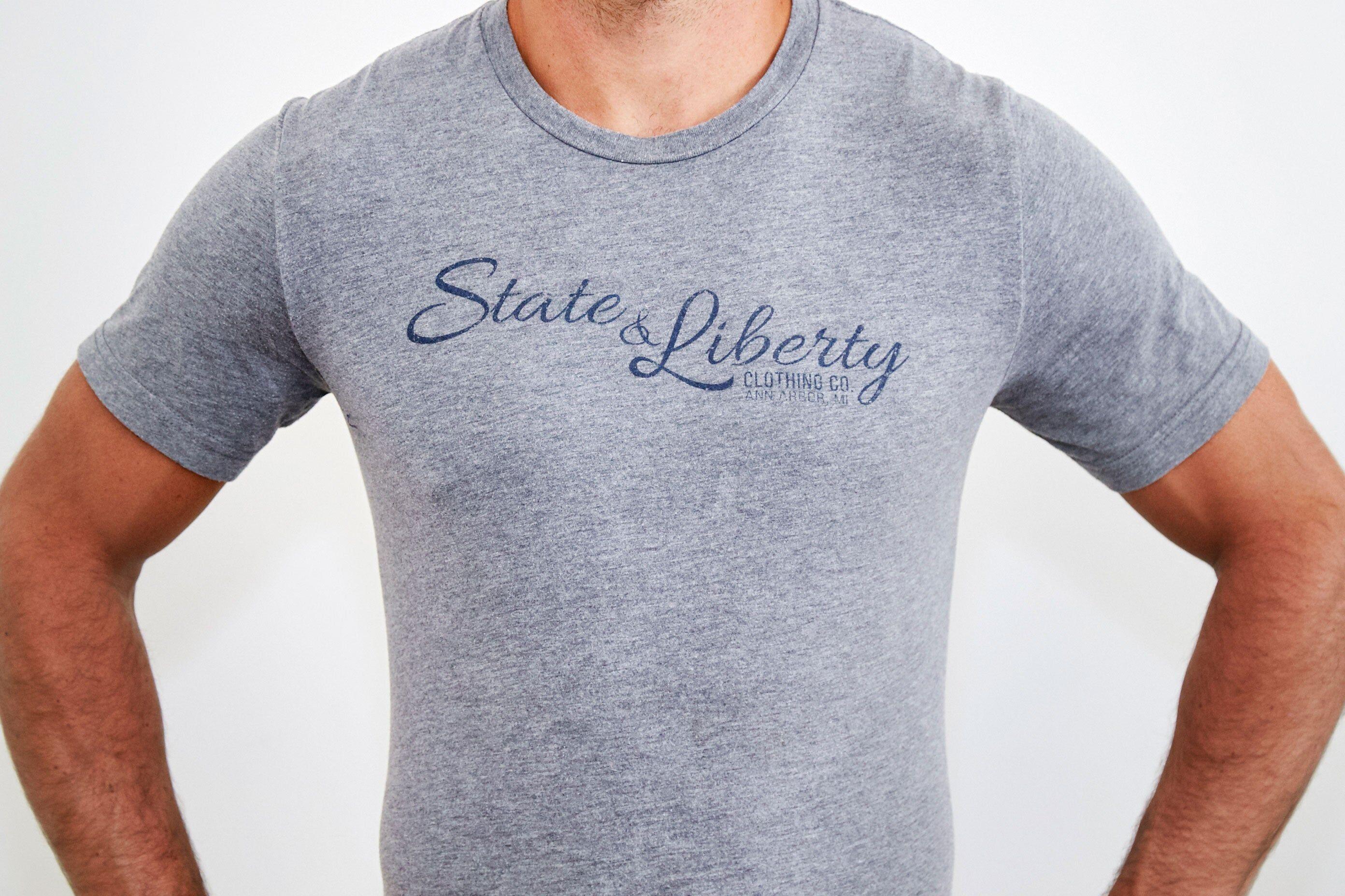 StateLiberty State and Liberty Grey T-Shirt