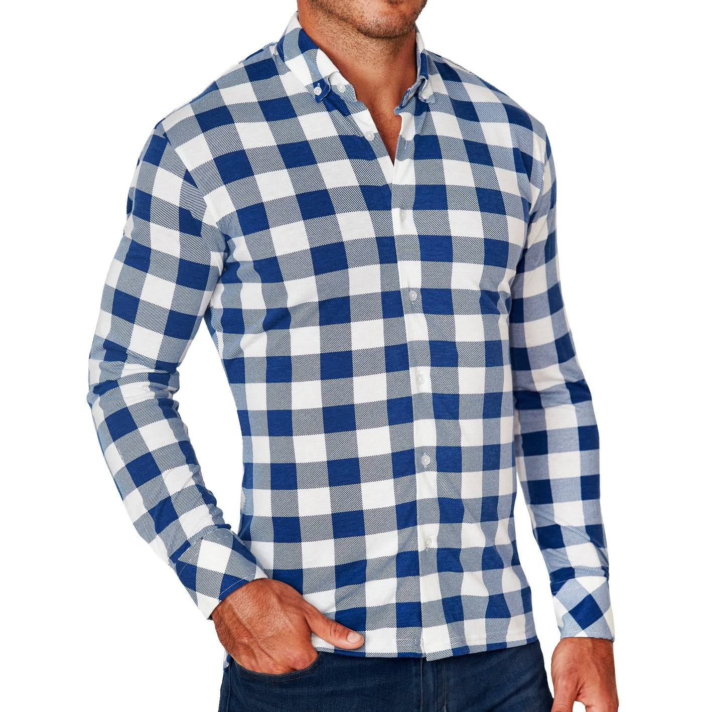 """StateLiberty """"The Holland"""" Royal Blue Plaid Casual Button Down"""