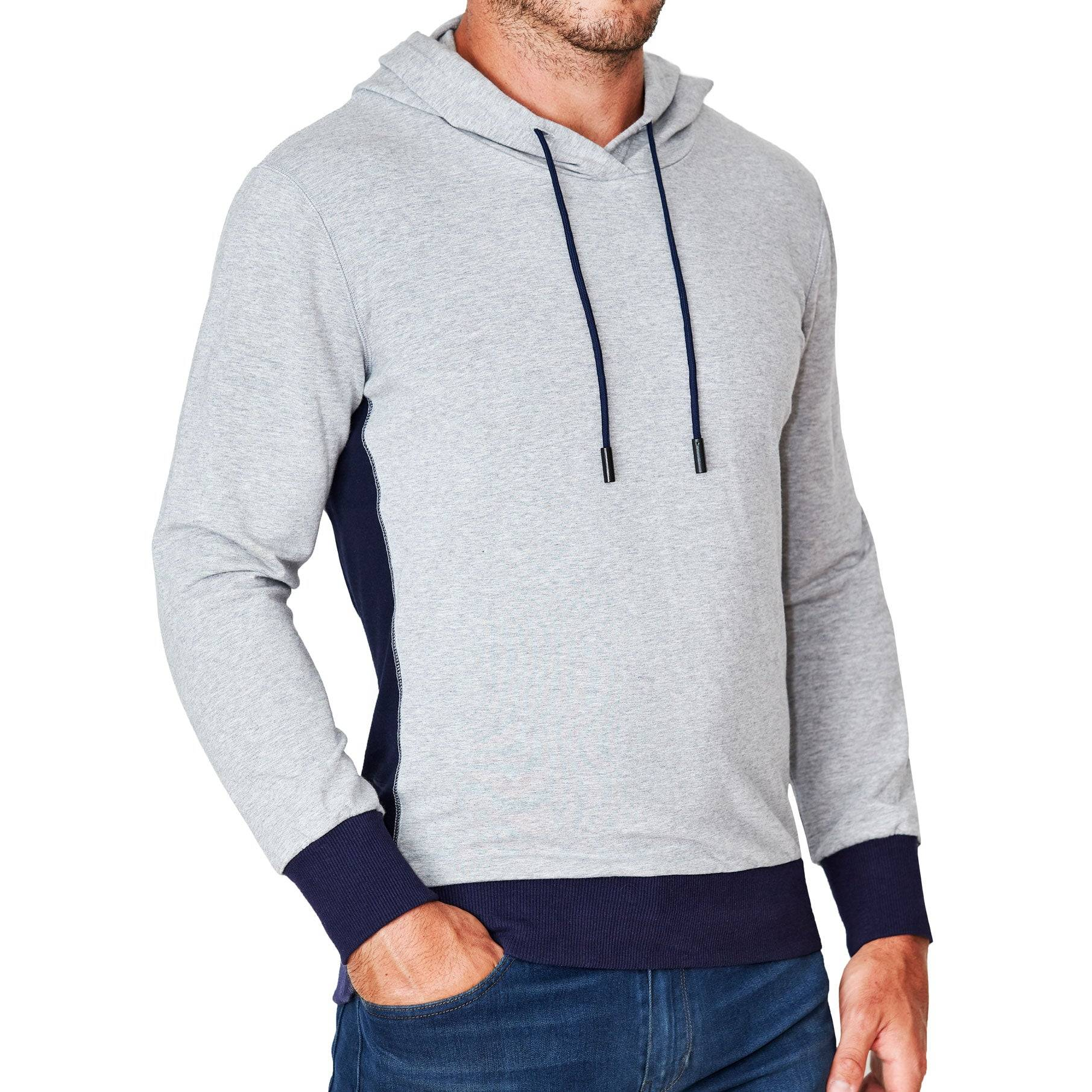 StateLiberty Grey Hoodie with Navy Accents